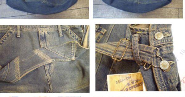 taschen aus jeans upcycling mit spitzen dekoriert diy. Black Bedroom Furniture Sets. Home Design Ideas