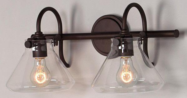 Fresnel Glass Restoration Bath Light: Beaker Glass Bath Light - 2 Light