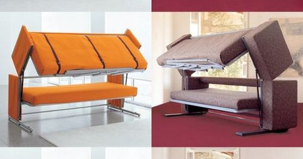 bunk bed couch - what a great spare room idea!