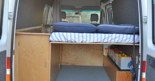 Midheight bed in the 3Up Sprinter conversion allows