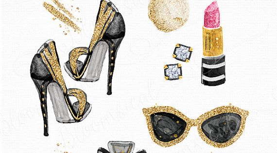 Paris Chic Beauty Clip Art | Gold glitter shoes earrings