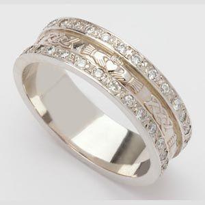 Irish Made Diamond Trim Claddagh Wedding Band For Ladies Celtic Wedding Rings Diamond Wedding Bands Claddagh Ring Wedding