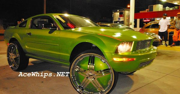 """Slime Green Ford Mustang on 30"""" DUB Delusion Floaters ..."""