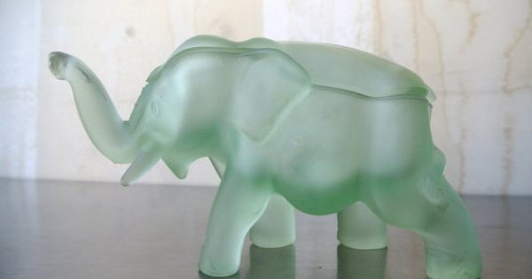 Sweet Vintage Frosted Elephant Dish Glass Elephant Candy