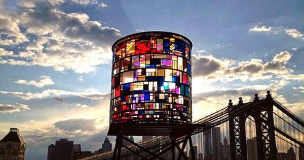 tom fruin, a brooklyn artist, built a 25 by 10 foot tall