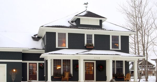Dream house... Black house exterior with white trim - Classic American four