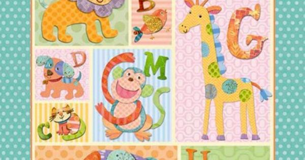 1 Panel Quilt Fabric Alphabet Zoo Animal Fabric Kids