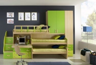 Dormitorio Para 3 Ninos Verde Jpg 377 255 Habitaciones Juveniles Habitación Para Tres Niños Dormitorios
