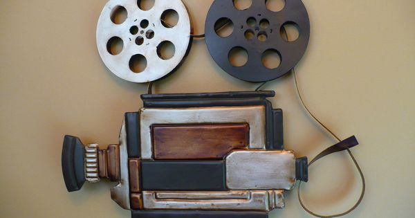 Home Theater Decor Metal Wall Art ~ Metal movie theater wall art camera and reels home theatre