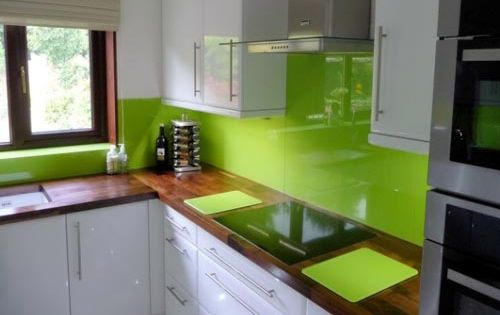White Cabinets, Lime Green Walls, Med Tone Wood