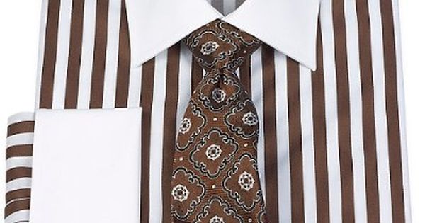 2-Ply Cotton Bold Satin Stripe Spread Collar French Cuff Dress Shirt from Paul Fredrick. Not crazy about the tie.