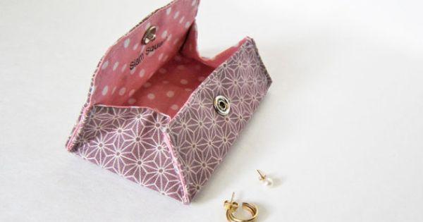 Origami Envelope Pouch - Japanese Sashiko fabric - Jewerly ... - photo#10