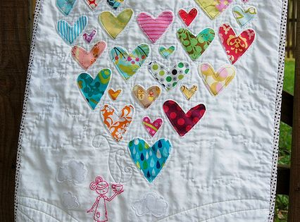 Heart quilt from old baby clothes or scraps. heart baby quilt quilting