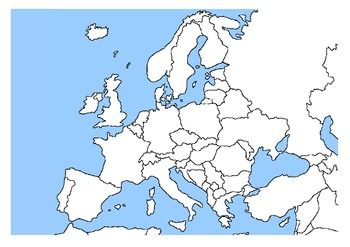map of europe no labels FREEBIE* FRENCH EUROPEAN COUNTRY LABELS & MAP | European map, Map