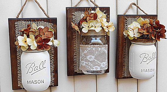 Mason Jar Wall Decor Pinterest : Mason jar wall decor jute het van de door