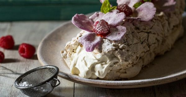 Pistachio Meringue Roulade with Raspberries, Cardamom ...