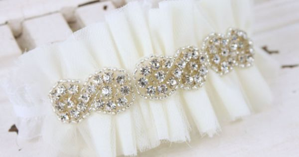 Bridal Tulle and rhinestone Garter...wedding idea