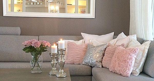 Sala en rosa y gris hogar dulce hogar pinterest for Decoracion hogar gris