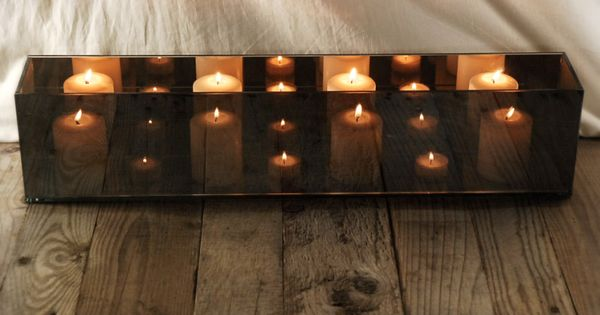 Mirrored Glass Rectangular Candle Holder This Would