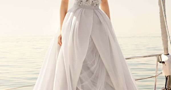Organza Gown with Draped Bodice and Tulle Skirt | White by Vera