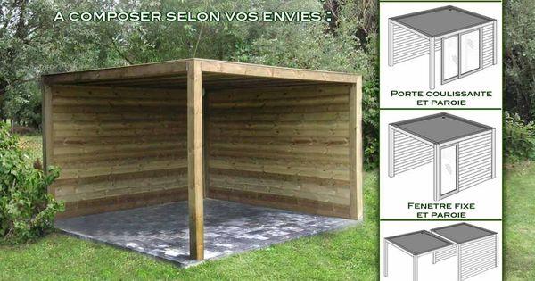 Abri de jardin bois exterior 350x350x230 garage en - Garage ouvert ...
