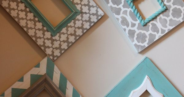 Distressed Frames: Set of Modern Funky Pattern In Grey and Turquoise Table