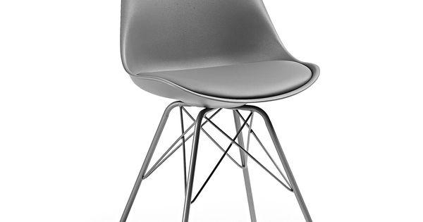 Chaise ralf avec pieds en acier gris for Chaise mauricette