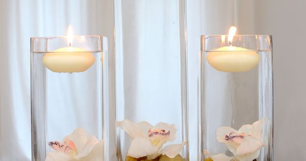 DIY Home Decor Centerpiece Vases with Floating Candles and Flowers...longer stemmed flowers