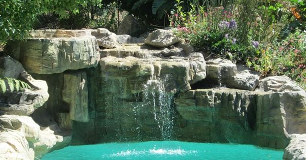 Sandstone Waterfall Embankment On Swimming Pool One Of The Best Rock Sculptures Ever Water