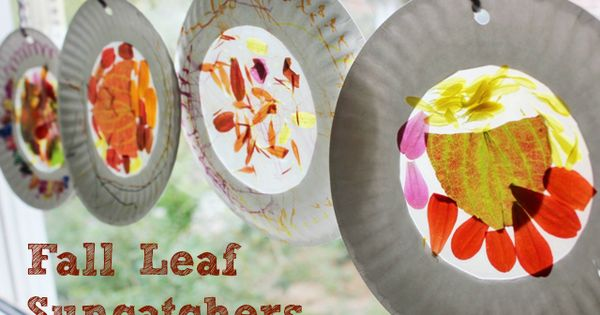 Fall Nature Suncatchers using autumn leaves and fall flowers. We could also