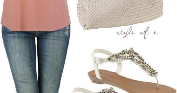 Cute summer outfit. Love jeans and top. Shoes a little too blingy