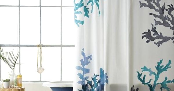 Shower curtains coral reefs and showers on pinterest