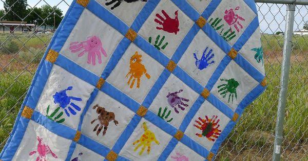 Classroom Quilt Themes : Preschool quilt hand print animals classroom