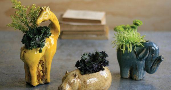 ceramic safari vases | yellow giraffe, blue elephant, and tan hippo planters