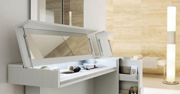 Meuble coiffeuse en blanc avec miroir rabattable for Coiffeuse meuble conforama