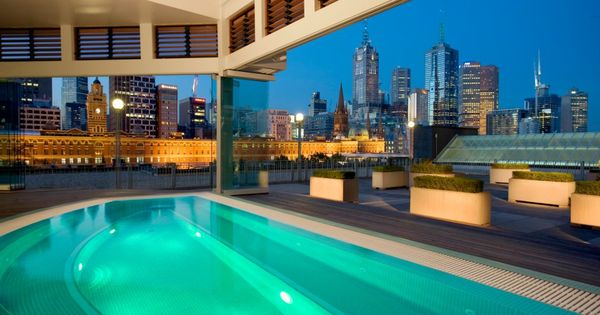 Stunning city views from the swimming pool at The Langham Hotel in