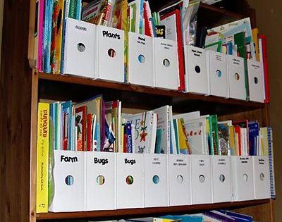 Easy DIY storage idea for kids' albums.