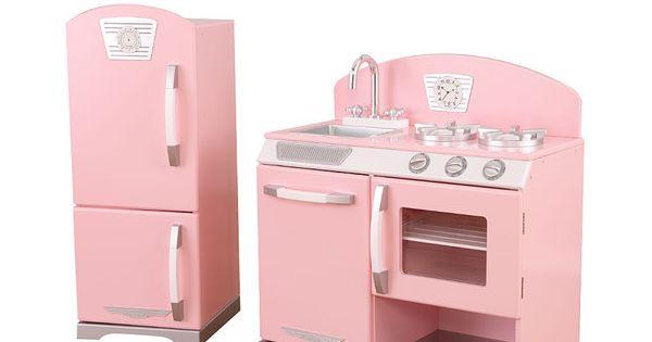 Kidkraft Pink Stove Refrigerator Retro Kitchen Set Stove Pink Play Kitchen And Retro Kitchens