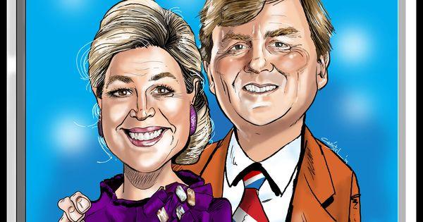 Karikatuur van Koning Willem Alexander en Koningin Máxima ...