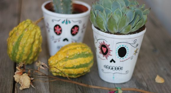 DIY Day Of The Dead Planters – How To Draw A Sugar