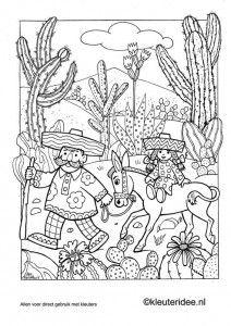 Kleurplaat Mexico 2 Kleuteridee Nl Mexican Coloring Adult