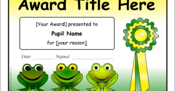 You did it Reward Children//Kids Frogs Recognition Awards Certificate Pad