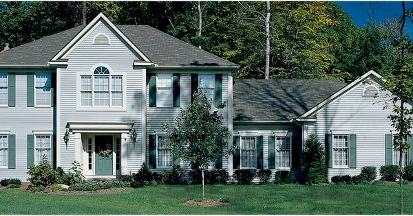Dover Grey With Snow White Trim And Green Shutters Siding