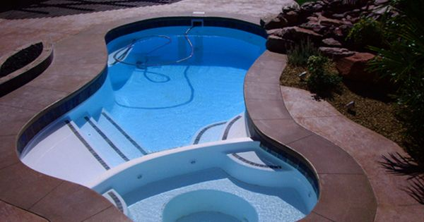 Small Combination Fiberglass Pool Mandalay Bay Fiberglass Pools Swimming Pool Designs Backyard Pool Designs