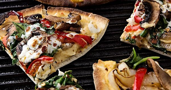Grilled Flatbread with Hummus & Mixed Veggies   Football ...