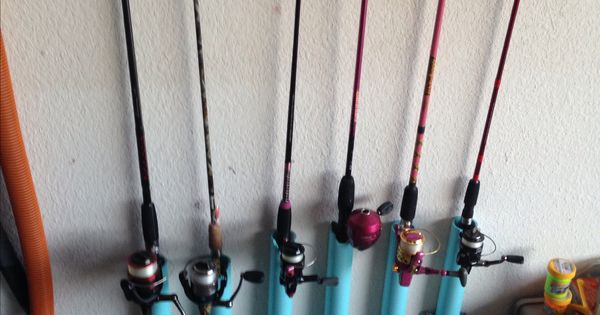Pvc Fishing Rod Pole Holder Mounted To The Wall And Out