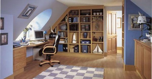 loft conversion office ideas - Angled bookshelf Attic and Basement Ideas