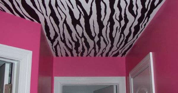 Pink zebra print room. Great for a teenage girl room.