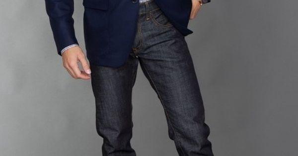 Denim, brown shoes, blue blazer, scarf