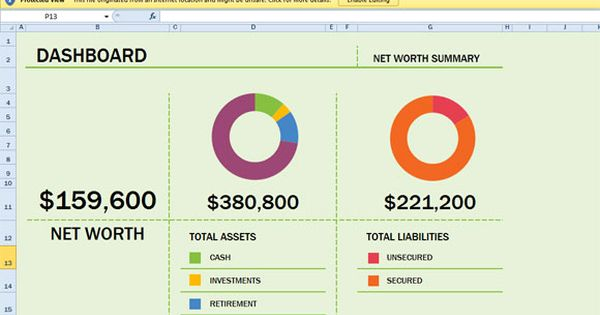 Free Net Worth Spreadsheet Template for Excel 2013 - Windows - asset and liability statement template